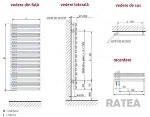 Calorifer port-prosop Purmo RATEA 500x796