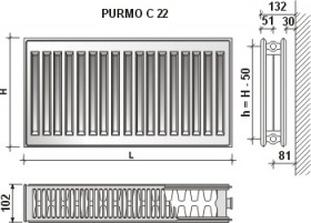 Calorifer din otel Purmo   C 22x600x2600
