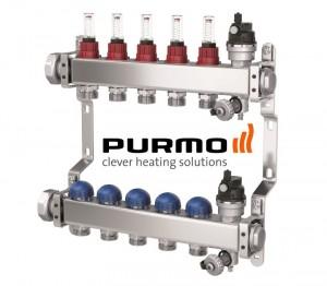 Distribuitor din inox cu 5 circuite cu debitmetre si robineti termostatati