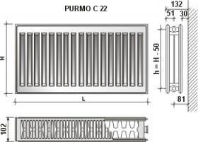 Calorifer din otel Purmo   C 22x600x2300