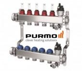 Foto Distribuitor din inox cu 5 circuite cu debitmetre si robineti termostatati